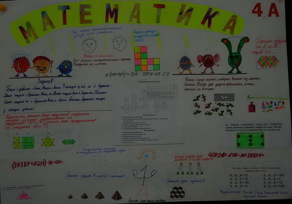 Плакаты по математике 5 класс сделанные своими руками