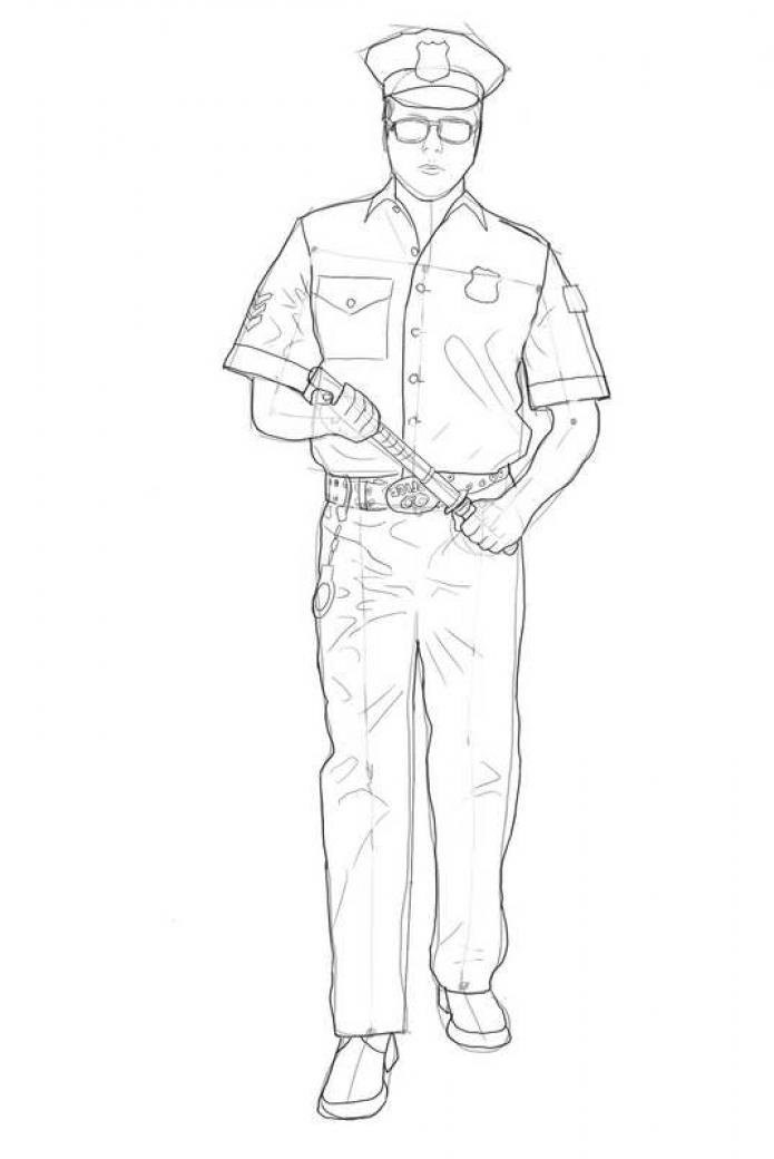 Как нарисовать милиционера