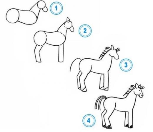Схема рисования лошади